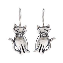 Silvermoon Sterling Silver Cat Earrings