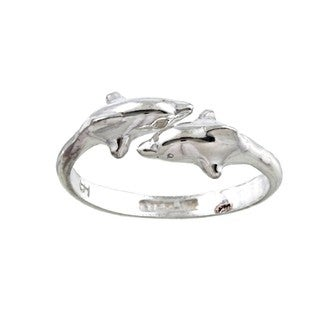 Silvermoon Sterling Silver Double Dolphin Adjustable Ring