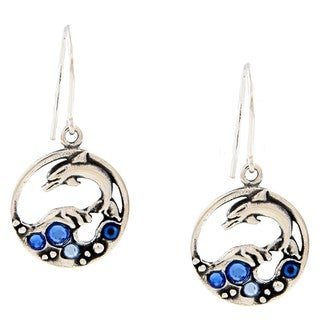 Silvermoon Sterling Silver Blue Crystal Dolphin Earrings