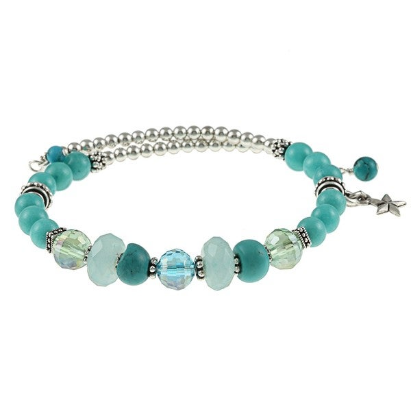 Charming Life Steel Magnesite Turquoise and Jade Coil Wrap Bracelet