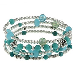 Charming Life Stainless Steel Turquoise 5-coil Wrap Bracelet