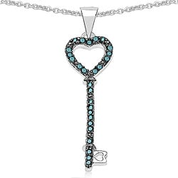 Malaika Sterling Silver 1/5 TDW Blue Diamond Key Necklace