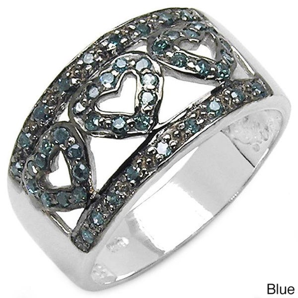 Malaika Sterling Silver 3/8ct TDW Black or Blue Diamond Heart Ring
