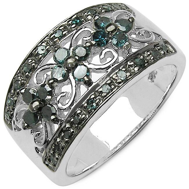 Malaika Sterling Silver 1/2ct TDW Blue Diamond Ring