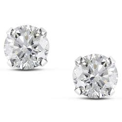 Miadora 14k White Gold 1 1/2ct TDW Certified Diamond Solitaire Stud Earrings (I-J, I1-I2)