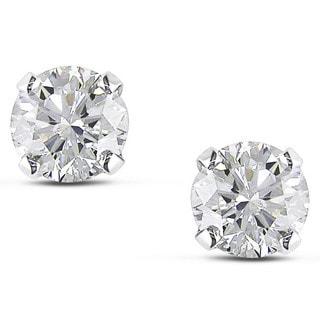 Miadora 14k White Gold 1 1/2ct TDW Certified Diamond Solitaire Earrings (I-J, I1-I2)