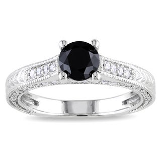 Miadora 14k White Gold 1 1/5ct TDW Black and White Diamond Ring (G-H, I1) with Bonus Earrings