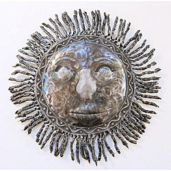 Recycled Steel Drum Sun Mask Wall Art (Haiti)
