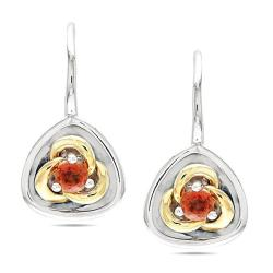 Miadora Sterling Silver Orange Sapphire Earrings