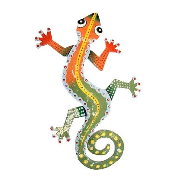 Recycled Steel Drum Orange/ Green Gecko Wall Art (Haiti)