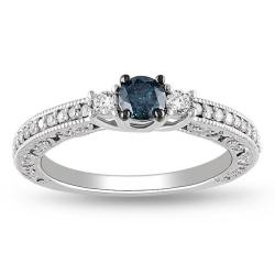 Miadora 14k White Gold 1/2ct TDW Blue and White Diamond Ring (G-H, I2-I3)