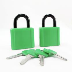 Turning Point Armored 40mm Green Plastic Covered Padlocks (Set of 2)