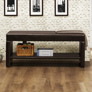 TRIBECCA HOME Toress Faux Leather Upholstered Bench with Shelf