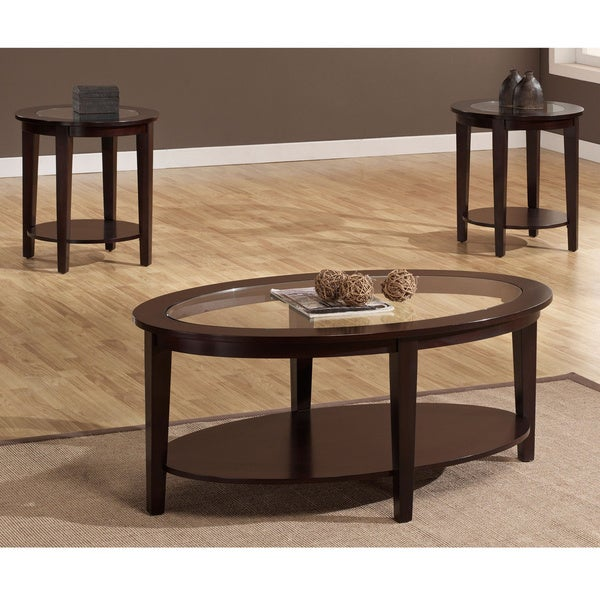 Round Coffee Table Dimensions: Oval 3-piece Table Set