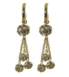 Adee Waiss 18k Gold Overlay Clear Cubic Zirconia Ball Dangle Earrings