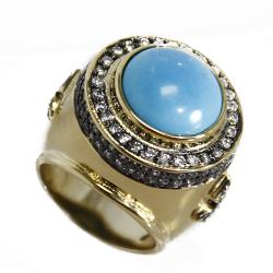 Adee Waiss 18k Gold Overlay Magnesite Turquoise Cocktail Ring