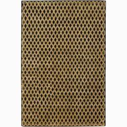 Hand-knotted Mandara Geometric Black New Zealand Wool Rug (9' x 12')