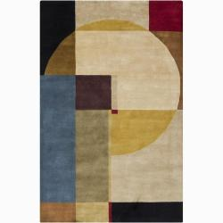Hand-knotted Mandara Geometric New Zealand Wool Rug (9' x 12')