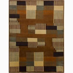Hand-Knotted Rust-Orange Mandara New Zealand Wool Rug (9' x 12')
