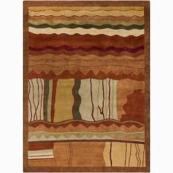 Hand-Knotted Geometric Mandara New Zealand Wool Rug (9' x 12')