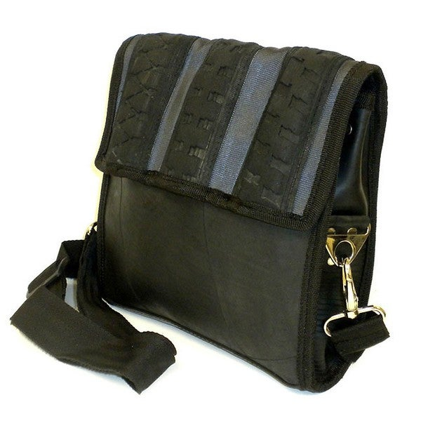 Recycled Urban Tire and Tube Black Messenger Bag (India)