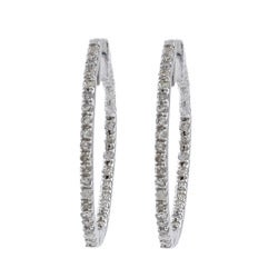 10k White Gold 1/2ct TDW Diamond Hoop Earrings (G-H, I1-I2)