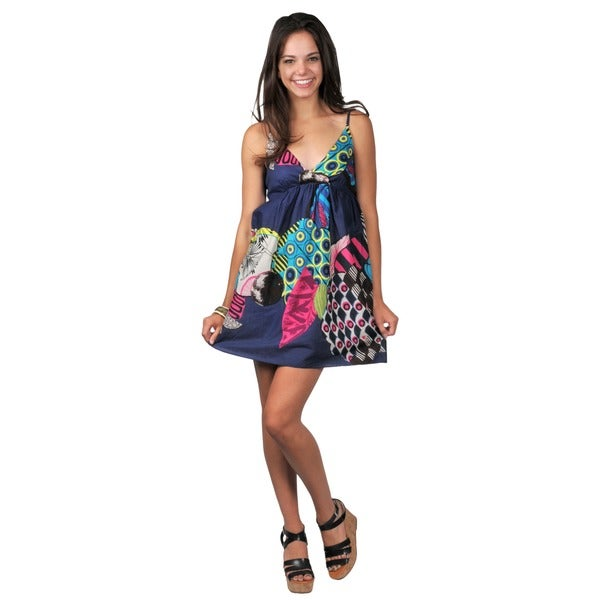 Journee Collection Juniors Mixed Print V-neck Dress