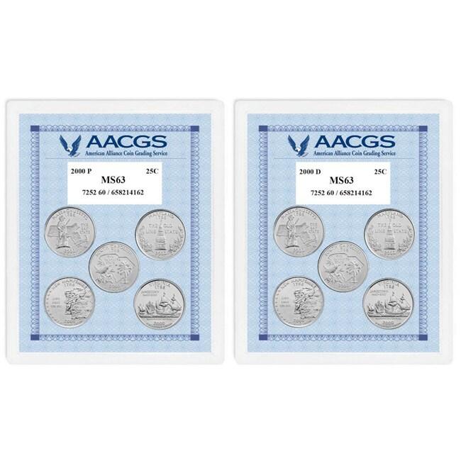 American Coin Treasures Uncirculated Statehood Quarters (Massachusetts, Maryland, South Carolina, New Hampshire, Virginia)