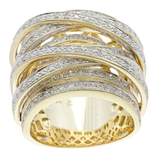 Beverly Hills Charm 10k Gold 1 1/2ct TDW Diamond Crossover Ring (H-I, I1-I2)