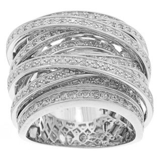 Beverly Hills Charm 10k Gold 1 1/2ct TDW Diamond Multi-Row Crossover Ring (H-I, I1-I2)