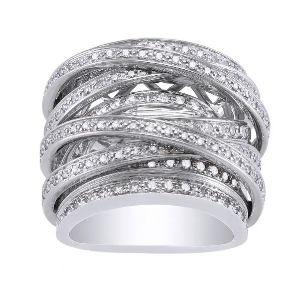Beverly Hills Charm 10k White Gold 1 1/2ct TDW Diamond Multi-row Crossover Ring (H-I, I1-I2)