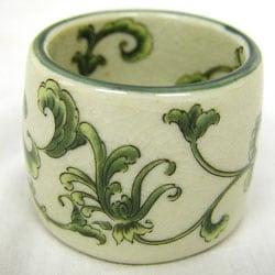 Green-vine-design Michelle Porcelain Napkin Rings (Set of 4)