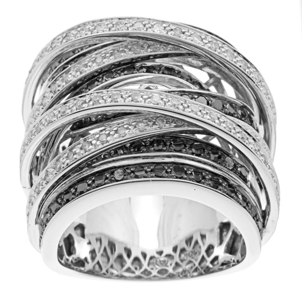 Beverly Hills Charm 10k Gold 1 1/2ct TDW Black and White Diamond Crossover Ring