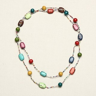 Clay and Glass Multicolor Beaded Long Necklace (India)