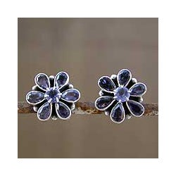 Sterling Silver 'Shy Violet' Iolite Earrings (India)