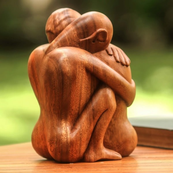 Suar Wood 'Embracing' Sculpture (Indonesia)