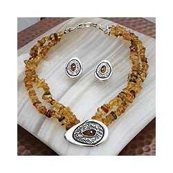 Sterling Silver 'Honey Sea' Amber Jewelry Set (Mexico)