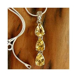 Sterling Silver 'Sundrops' Citrine Necklace(India)