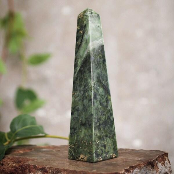 Hand-carved Jade 'Prosperity' Large Obelisk Sculpture , Handmade in Peru