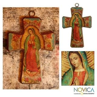 Pinewood 'Virgin Morenita Guadalupe' Decoupage Cross (Mexico)