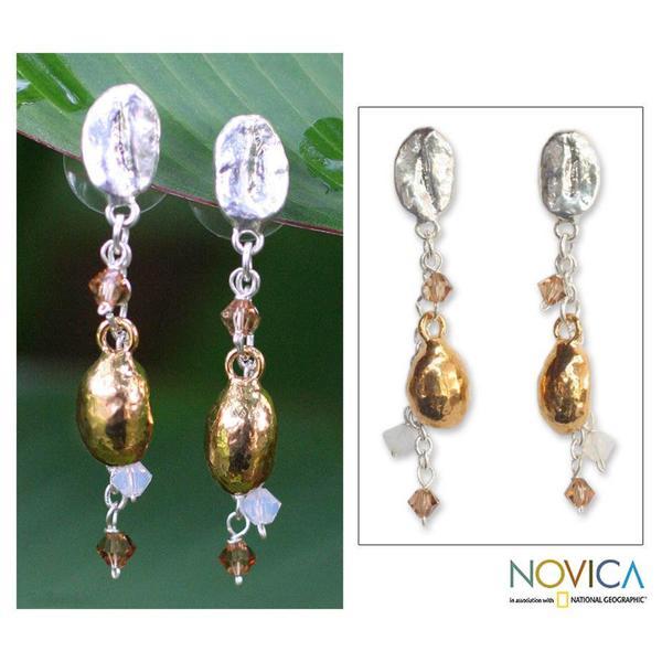 Handmade Silverplated 'Elixir' Natural Coffee Beans Drop Earrings (Thailand) 8184200