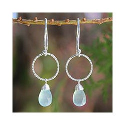 Sterling Silver 'Mystic Solo' Chalcedony Earrings (Thailand)