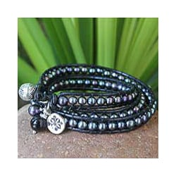 Silver 'New Midnight Tribal' Pearl Gem Bracelet (5-8 mm) (Thailand)
