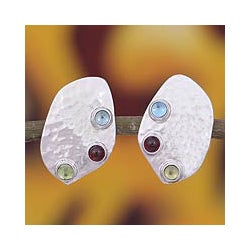 Sterling Silver 'Taxco Harmony' Multi-gemstone Earrings (Mexico)