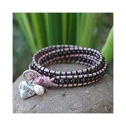 Silver 'Love Glows' Garnet and Pearl Bracelet (4.5-5 mm) (Thailand)