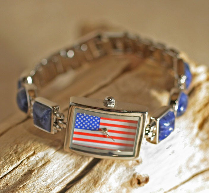 Stainless Steel Women's Patriotic Flag Stone Inlay Watch (China)