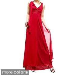 Evanese Women's Elegant Long Red Ribbon Dress