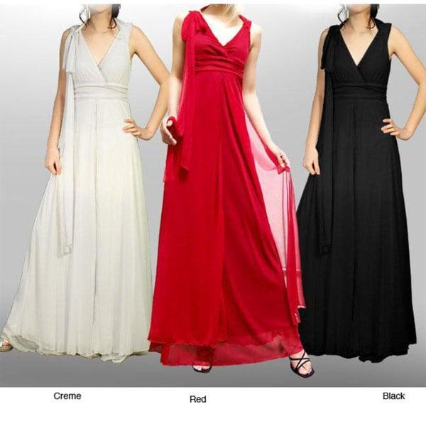 Evanese Women's Elegant Long Red Ribbon Dress