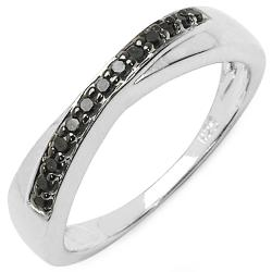 Malaika Sterling Silver 1/10ct TDW Black Diamond Ring