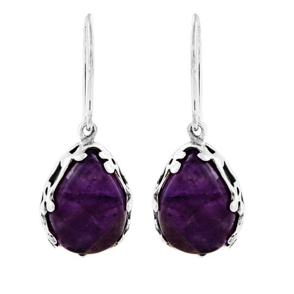 Silvermoon Sterling Silver Amethyst Teardrop Earrings